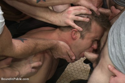 Photo number 5 from Straight stud gets gang fucked in a crowded cruising bathroom  shot for boundinpublic on Kink.com. Featuring Connor Patricks, Jessie Colter and Bryan Cole in hardcore BDSM & Fetish porn.