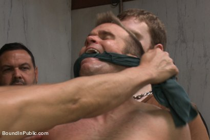 Photo number 4 from Straight stud gets gang fucked in a crowded cruising bathroom  shot for boundinpublic on Kink.com. Featuring Connor Patricks, Jessie Colter and Bryan Cole in hardcore BDSM & Fetish porn.