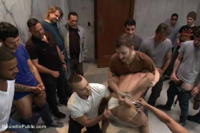 Photo number 6 from Straight stud gets gang fucked in a crowded cruising bathroom  shot for boundinpublic on Kink.com. Featuring Connor Patricks, Jessie Colter and Bryan Cole in hardcore BDSM & Fetish porn.