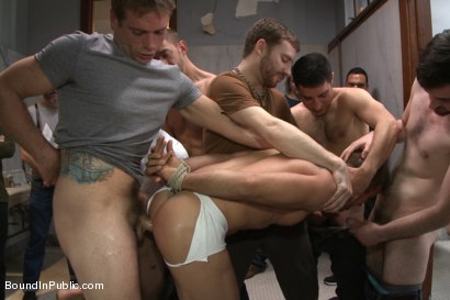 Photo number 7 from Straight stud gets gang fucked in a crowded cruising bathroom  shot for boundinpublic on Kink.com. Featuring Connor Patricks, Jessie Colter and Bryan Cole in hardcore BDSM & Fetish porn.