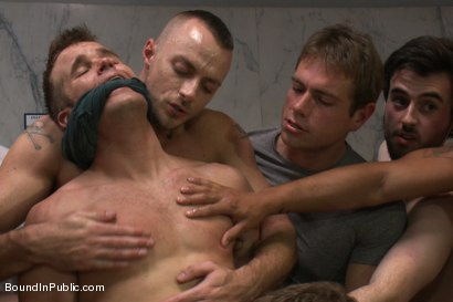 Photo number 10 from Straight stud gets gang fucked in a crowded cruising bathroom  shot for boundinpublic on Kink.com. Featuring Connor Patricks, Jessie Colter and Bryan Cole in hardcore BDSM & Fetish porn.