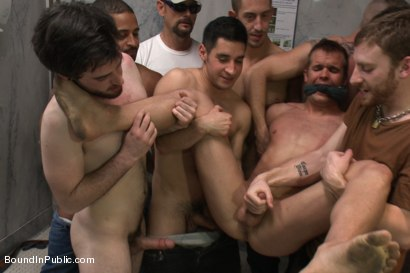 Photo number 12 from Straight stud gets gang fucked in a crowded cruising bathroom  shot for boundinpublic on Kink.com. Featuring Connor Patricks, Jessie Colter and Bryan Cole in hardcore BDSM & Fetish porn.