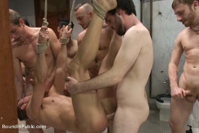 Photo number 6 from Ripped stud is made to play spin the bottle BIP style shot for Bound in Public on Kink.com. Featuring Connor Patricks, Jessie Colter and Bryan Cole in hardcore BDSM & Fetish porn.