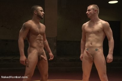 "Photo number 15 from Damian ""The Decimator"" Taylor vs Randall ""The Rock"" O'Reilly shot for Naked Kombat on Kink.com. Featuring Randall O'Reilly and Damian Taylor in hardcore BDSM & Fetish porn."