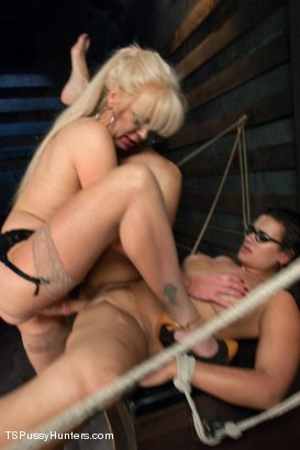 Photo number 10 from She Bottoms to her Cock, She Bottoms to her Vagina shot for TS Pussy Hunters on Kink.com. Featuring Joanna Jet and Penny Barber in hardcore BDSM & Fetish porn.