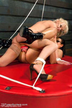 Photo number 13 from She Bottoms to her Cock, She Bottoms to her Vagina shot for TS Pussy Hunters on Kink.com. Featuring Joanna Jet and Penny Barber in hardcore BDSM & Fetish porn.
