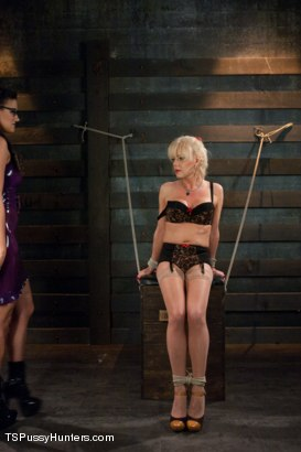 Photo number 2 from She Bottoms to her Cock, She Bottoms to her Vagina shot for TS Pussy Hunters on Kink.com. Featuring Joanna Jet and Penny Barber in hardcore BDSM & Fetish porn.