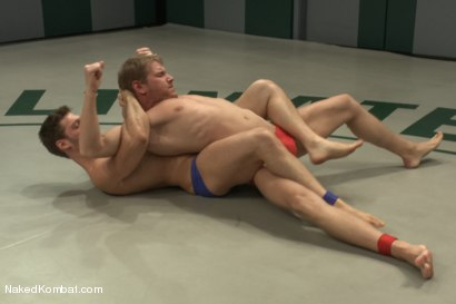 """Photo number 2 from Andrew """"The Annihilator"""" Blue vs. Alex """"The Axe"""" Adams - Lube Match  shot for Naked Kombat on Kink.com. Featuring Andrew Blue and Alex Adams in hardcore BDSM & Fetish porn."""