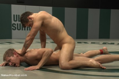 """Photo number 13 from Andrew """"The Annihilator"""" Blue vs. Alex """"The Axe"""" Adams - Lube Match  shot for Naked Kombat on Kink.com. Featuring Andrew Blue and Alex Adams in hardcore BDSM & Fetish porn."""