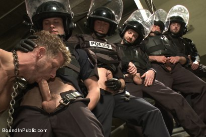 Photo number 12 from Lockup, Cell Extraction & Prison Gang Fuck  shot for Bound in Public on Kink.com. Featuring Jeremy Stevens, Hayden Richards and Connor Maguire in hardcore BDSM & Fetish porn.