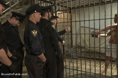 Photo number 3 from Lockup, Cell Extraction & Prison Gang Fuck  shot for Bound in Public on Kink.com. Featuring Jeremy Stevens, Hayden Richards and Connor Maguire in hardcore BDSM & Fetish porn.