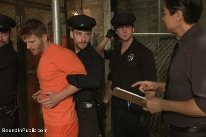 Photo number 1 from Lockup, Cell Extraction & Prison Gang Fuck  shot for Bound in Public on Kink.com. Featuring Jeremy Stevens, Hayden Richards and Connor Maguire in hardcore BDSM & Fetish porn.