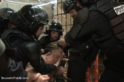 Photo number 5 from Lockup, Cell Extraction & Prison Gang Fuck  shot for Bound in Public on Kink.com. Featuring Jeremy Stevens, Hayden Richards and Connor Maguire in hardcore BDSM & Fetish porn.