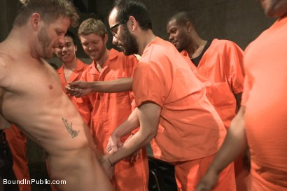 Photo number 8 from Lockup, Cell Extraction & Prison Gang Fuck  shot for Bound in Public on Kink.com. Featuring Jeremy Stevens, Hayden Richards and Connor Maguire in hardcore BDSM & Fetish porn.