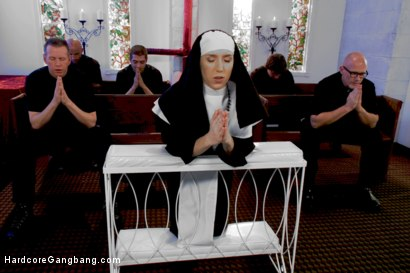 Photo number 1 from Petite Blonde Lives out Fantasy: Nun Gangbanged by 5 Priests in Chapel shot for Hardcore Gangbang on Kink.com. Featuring Xander Corvus, Maia Davis, Astral Dust, Nick Jacobs, Mark Davis and Mark Wood in hardcore BDSM & Fetish porn.