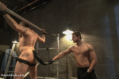 Photo number 3 from Rogue Cop and The Hairy Biker shot for Bound Gods on Kink.com. Featuring Johnny Parker and Connor Maguire in hardcore BDSM & Fetish porn.