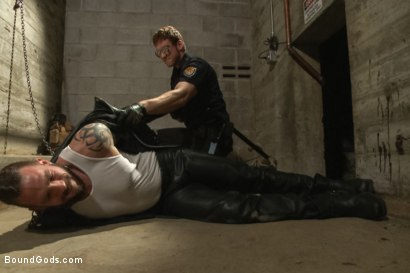 Photo number 1 from Rogue Cop and The Hairy Biker shot for Bound Gods on Kink.com. Featuring Johnny Parker and Connor Maguire in hardcore BDSM & Fetish porn.