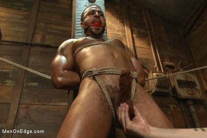 Bound Captured Stud Cums in Mid-air