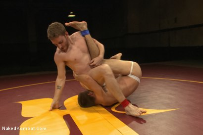 "Photo number 3 from Jacques ""Le Cock"" LaVere vs Sebastian ""The Tiger"" Keys - Oil Match shot for Naked Kombat on Kink.com. Featuring Jacques LaVere and Sebastian Keys in hardcore BDSM & Fetish porn."