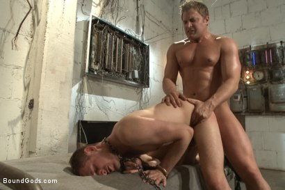 Photo number 12 from A Pervert Electrician and His Bound Hung Stud  shot for Bound Gods on Kink.com. Featuring Michael Anthony and Lief Kaase in hardcore BDSM & Fetish porn.