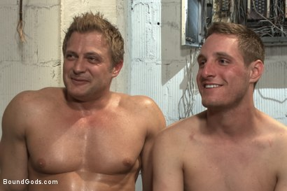Photo number 15 from A Pervert Electrician and His Bound Hung Stud  shot for Bound Gods on Kink.com. Featuring Michael Anthony and Lief Kaase in hardcore BDSM & Fetish porn.