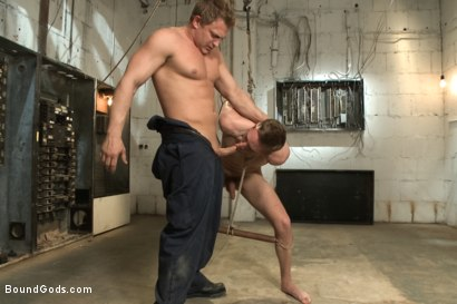 Photo number 3 from A Pervert Electrician and His Bound Hung Stud  shot for Bound Gods on Kink.com. Featuring Michael Anthony and Lief Kaase in hardcore BDSM & Fetish porn.