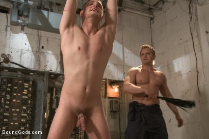 Photo number 4 from A Pervert Electrician and His Bound Hung Stud  shot for Bound Gods on Kink.com. Featuring Michael Anthony and Lief Kaase in hardcore BDSM & Fetish porn.