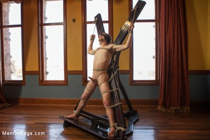 Photo number 3 from 19 Year Old Stud First Bound and Edged shot for Men On Edge on Kink.com. Featuring Andrew Collins in hardcore BDSM & Fetish porn.
