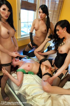 Photo number 5 from ARCHIVE UPDATE: GANG BANG ORGY! 3 TS WOMEN DOMMING MAITRESSE MADELINE shot for TS Pussy Hunters on Kink.com. Featuring Maitresse Madeline Marlowe , Eva Lin, Jessica Fox and Venus Lux in hardcore BDSM & Fetish porn.