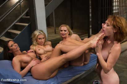 Photo number 4 from Caged Feet: A Women In Prison Footsploitation Film! shot for Foot Worship on Kink.com. Featuring Audrey Hollander, Katja Kassin, Ariel X and Katie Summers in hardcore BDSM & Fetish porn.