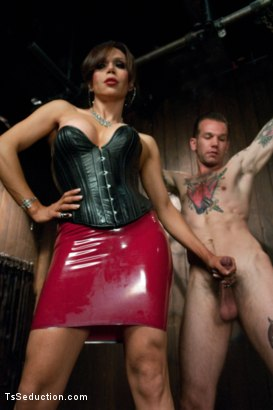 Photo number 1 from New Dom in Sexy Latex Whips out Her Cock and Fucks a Bound Slave Boy shot for TS Seduction on Kink.com. Featuring Sofia Sanders and Will Havoc in hardcore BDSM & Fetish porn.