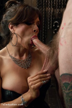 Photo number 4 from New Dom in Sexy Latex Whips out Her Cock and Fucks a Bound Slave Boy shot for TS Seduction on Kink.com. Featuring Sofia Sanders and Will Havoc in hardcore BDSM & Fetish porn.