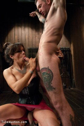 Photo number 2 from New Dom in Sexy Latex Whips out Her Cock and Fucks a Bound Slave Boy shot for TS Seduction on Kink.com. Featuring Sofia Sanders and Will Havoc in hardcore BDSM & Fetish porn.