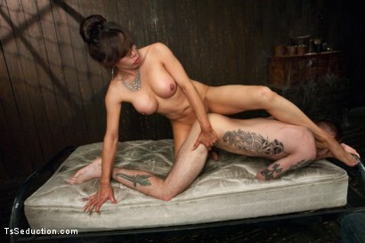 Photo number 5 from New Dom in Sexy Latex Whips out Her Cock and Fucks a Bound Slave Boy shot for TS Seduction on Kink.com. Featuring Sofia Sanders and Will Havoc in hardcore BDSM & Fetish porn.