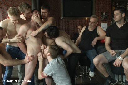 Photo number 1 from Nasty Bartender Humiliated and Gang Fucked by Angry Crowd shot for Bound in Public on Kink.com. Featuring Hayden Richards, Rob Yaeger and Will Parks in hardcore BDSM & Fetish porn.