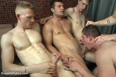 Photo number 6 from Nasty Bartender Humiliated and Gang Fucked by Angry Crowd shot for Bound in Public on Kink.com. Featuring Hayden Richards, Rob Yaeger and Will Parks in hardcore BDSM & Fetish porn.
