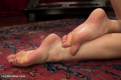 Photo number 12 from *BONUS UPDATE*Webbed Toed Submissive Slut Worships Aiden Starr's Feet! shot for Foot Worship on Kink.com. Featuring Natalie Moore and Aiden Starr in hardcore BDSM & Fetish porn.