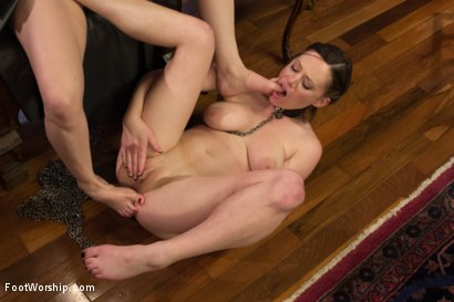 Photo number 8 from *BONUS UPDATE*Webbed Toed Submissive Slut Worships Aiden Starr's Feet! shot for Foot Worship on Kink.com. Featuring Natalie Moore and Aiden Starr in hardcore BDSM & Fetish porn.