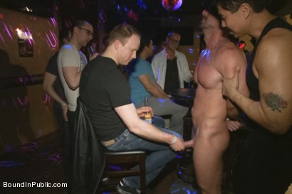 Photo number 3 from Muscle stud Mitch Vaughn tied up and used in a public bar shot for Bound in Public on Kink.com. Featuring Mitch Vaughn, Jeremy Stevens and Rob Yaeger in hardcore BDSM & Fetish porn.