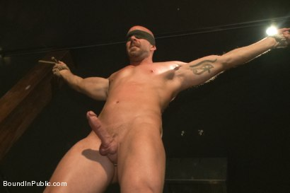 Photo number 8 from Muscle stud Mitch Vaughn tied up and used in a public bar shot for Bound in Public on Kink.com. Featuring Mitch Vaughn, Jeremy Stevens and Rob Yaeger in hardcore BDSM & Fetish porn.