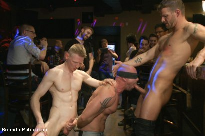 Photo number 9 from Muscle stud Mitch Vaughn tied up and used in a public bar shot for Bound in Public on Kink.com. Featuring Mitch Vaughn, Jeremy Stevens and Rob Yaeger in hardcore BDSM & Fetish porn.