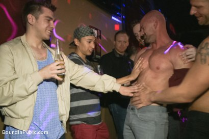 Photo number 2 from Muscle stud Mitch Vaughn tied up and used in a public bar shot for Bound in Public on Kink.com. Featuring Mitch Vaughn, Jeremy Stevens and Rob Yaeger in hardcore BDSM & Fetish porn.