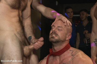 Photo number 14 from Muscle stud Mitch Vaughn tied up and used in a public bar shot for Bound in Public on Kink.com. Featuring Mitch Vaughn, Jeremy Stevens and Rob Yaeger in hardcore BDSM & Fetish porn.
