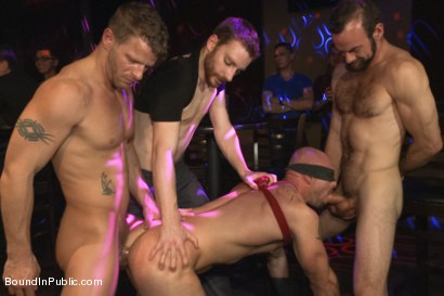 Photo number 11 from Muscle stud Mitch Vaughn tied up and used in a public bar shot for Bound in Public on Kink.com. Featuring Mitch Vaughn, Jeremy Stevens and Rob Yaeger in hardcore BDSM & Fetish porn.