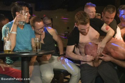 Photo number 3 from Muscled stud has had enough but the horny crowd says no shot for Bound in Public on Kink.com. Featuring Mitch Vaughn, Jeremy Stevens and Rob Yaeger in hardcore BDSM & Fetish porn.