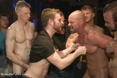 Photo number 2 from Muscled stud has had enough but the horny crowd says no shot for Bound in Public on Kink.com. Featuring Mitch Vaughn, Jeremy Stevens and Rob Yaeger in hardcore BDSM & Fetish porn.