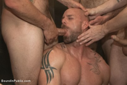Photo number 14 from Muscled stud has had enough but the horny crowd says no shot for Bound in Public on Kink.com. Featuring Mitch Vaughn, Jeremy Stevens and Rob Yaeger in hardcore BDSM & Fetish porn.