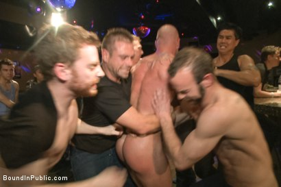Photo number 1 from Muscled stud has had enough but the horny crowd says no shot for Bound in Public on Kink.com. Featuring Mitch Vaughn, Jeremy Stevens and Rob Yaeger in hardcore BDSM & Fetish porn.
