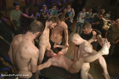 Photo number 6 from Muscled stud has had enough but the horny crowd says no shot for Bound in Public on Kink.com. Featuring Mitch Vaughn, Jeremy Stevens and Rob Yaeger in hardcore BDSM & Fetish porn.