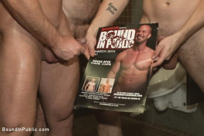 Photo number 13 from Muscled stud has had enough but the horny crowd says no shot for Bound in Public on Kink.com. Featuring Mitch Vaughn, Jeremy Stevens and Rob Yaeger in hardcore BDSM & Fetish porn.